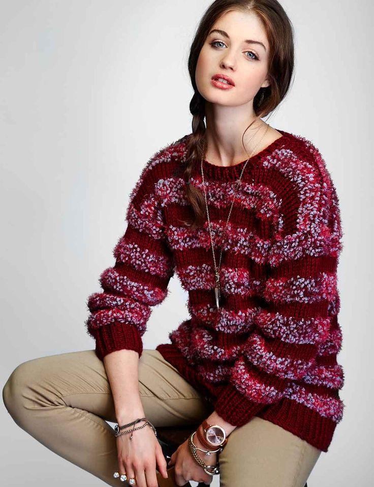 Yarnspirations.com - Bernat Striped Pullover - Patterns  | Yarnspirations