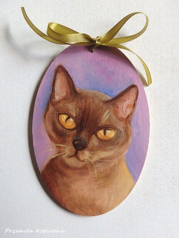 Custom CAT PORTRAIT Hand painted on wooden panel Oval door #CATPORTRAIT #homedecor, #catlovers #CanisArtStudio