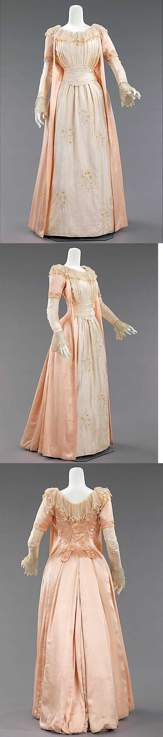 Tea Gown Liberty & Co., 1885. The Artistic dress had its roots in mid-Victorian England, where Pre-Raphaelite artists, with their love of things medieval, and disdain of industrialized society, revived a version of the loose fitting, relatively plain gowns of that time. Its successor, Aesthetic dress, drew from the same design, but not philosophical.