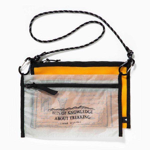 送料無料 and wander アンドワンダー twin pouch set gray [ツイン][ポーチ][セット][サコッシュ][ショルダーバッグ]