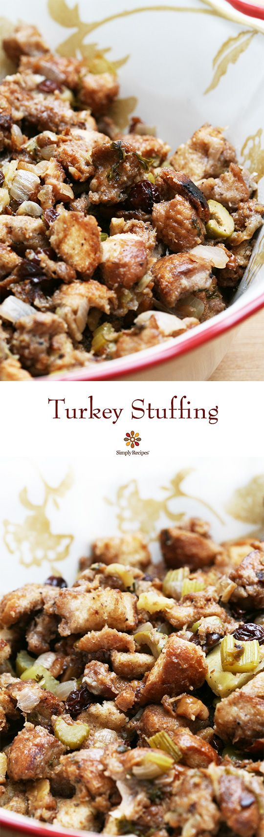 Mom's Turkey Stuffing ~ I've never tasted any turkey stuffing that has come close to as good as mom's. Classic Thanksgiving turkey stuffing recipe made with French bread cubes toasted in butter, walnuts, onion, celery, apple, green olives, and stock made from turkey giblets. ~ SimplyRecipes.com