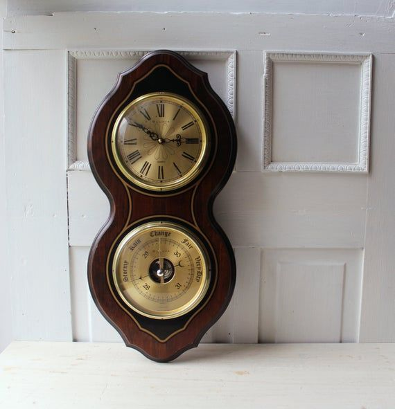 Vintage Bulova Wall Clock With Barometer Bulova Wall Clock Nautical Wall Clock Clock