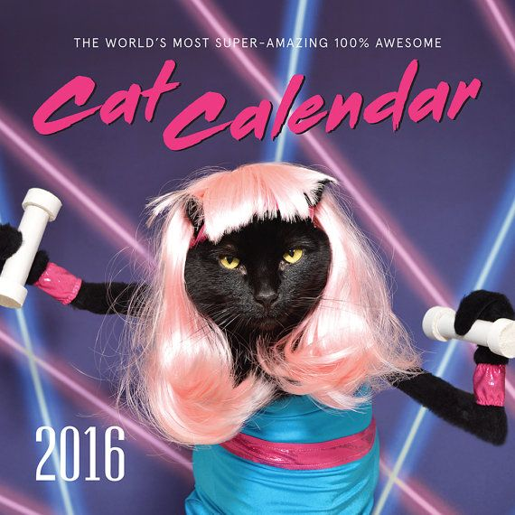 This listing is for our 2016 edition of  The Worlds Most Super-Amazing 100% Awesome Cat Calendar featuring AC dressed up in all 80s themes! Calendar