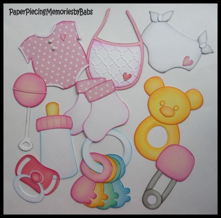 Premade Paper Pieced Baby Accessories Set for Scrapbook Pages-by Babs