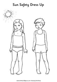 Sun safety paper dolls Teaching