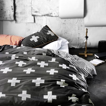 Crosses Charcoal Queen bed quilt cover