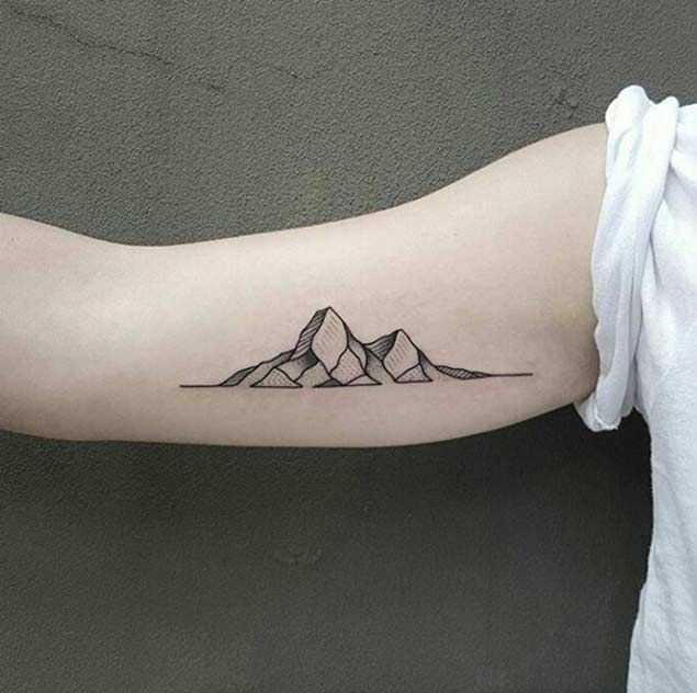 689eafb15dc35 25 Breathtaking Mountain Tattoos That Flat Out Rock | — Tattoos ON Women —  | Mountain tattoo, Geometric mountain tattoo, Simplistic tattoos