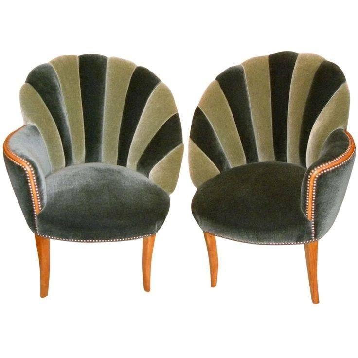 Green Velvet Deco Boudoir Chairs.