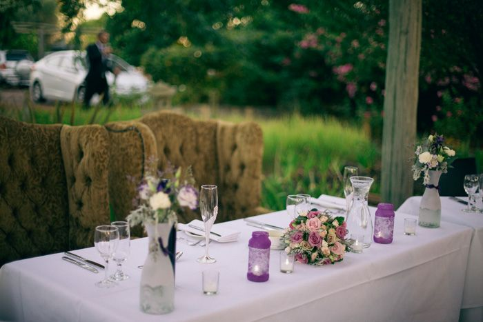 Bridal Table, wing back chairs, handmade lace wrap jars