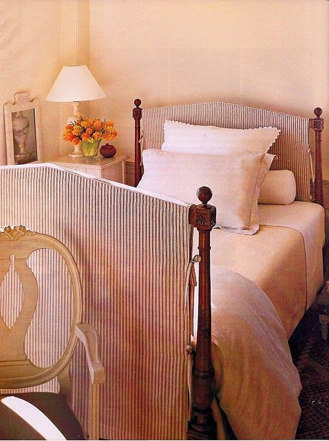 slipcovering a bed; love the ticking stripeBed Frames, Beds Head, Slipcovers Beds, Master Bedrooms, Beds Frames, Slipcovers Headboards, Slipcovers Bedram, Cozy Bedrooms, Bedrooms Ideas