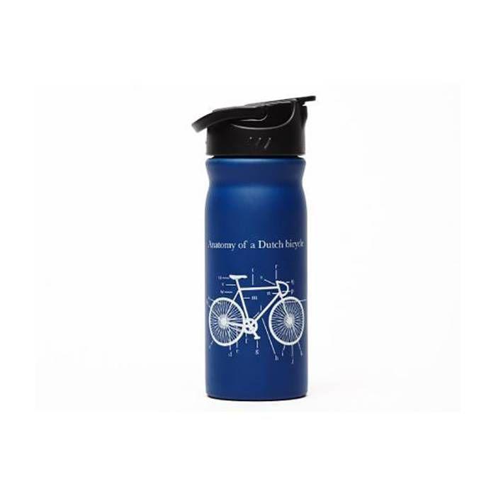 """RVS drinkfles blauw """"fiets"""""""