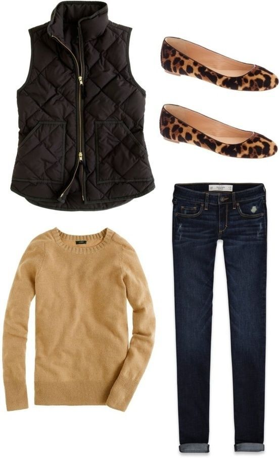 Cute! Need the Tan/Camel colored top and dark vest.