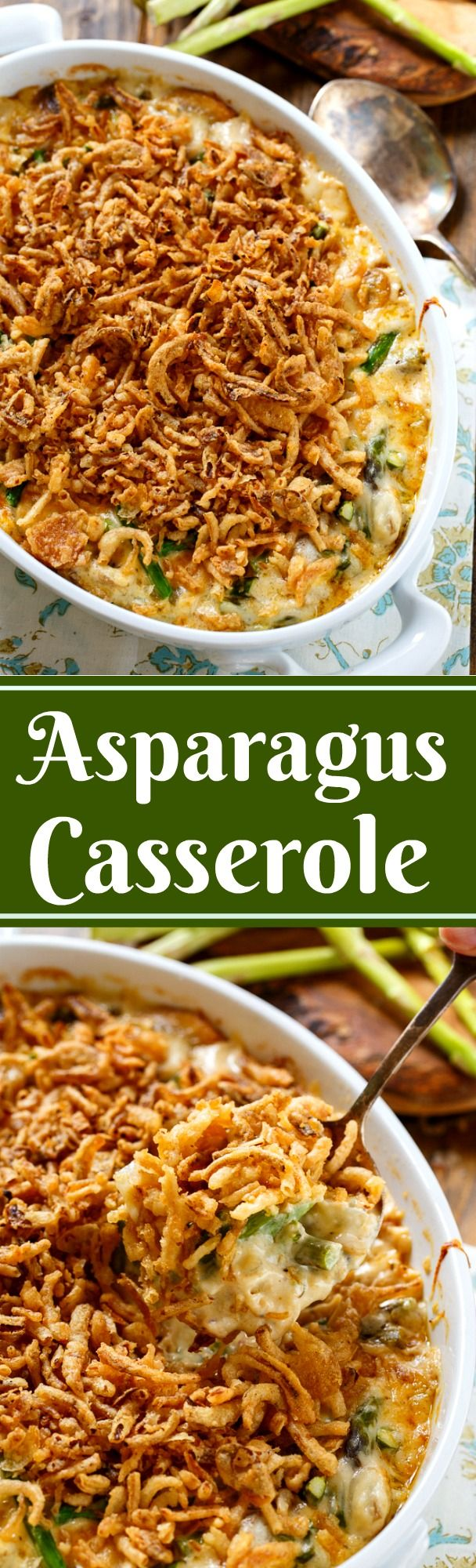 Asparagus Casserole made with fresh asparagus and French fried onions.