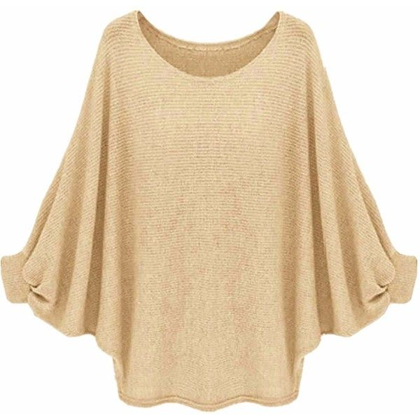 ZANZEA Women's Batwing Long Sleeve Oversized Sweater Plain Jumper... (10.865 CLP) ❤ liked on Polyvore featuring tops, red batwing top, batwing tops, red top, beige top and long sleeve batwing top