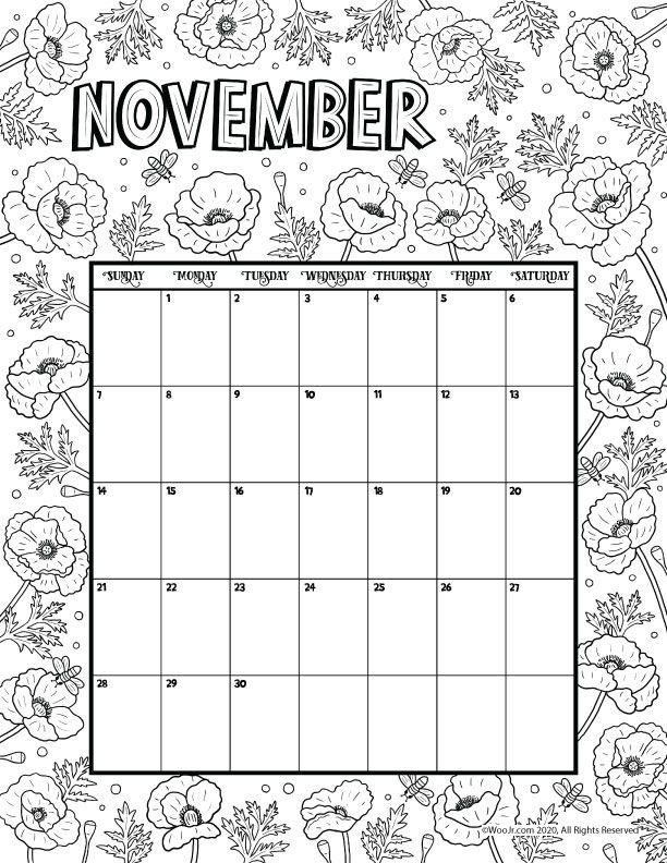 Printable November 2021 Calendar Page