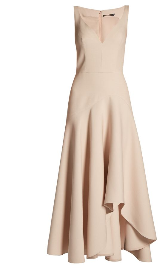 Alexander McQueen sweetheart-neck wool and silk blend cady dress