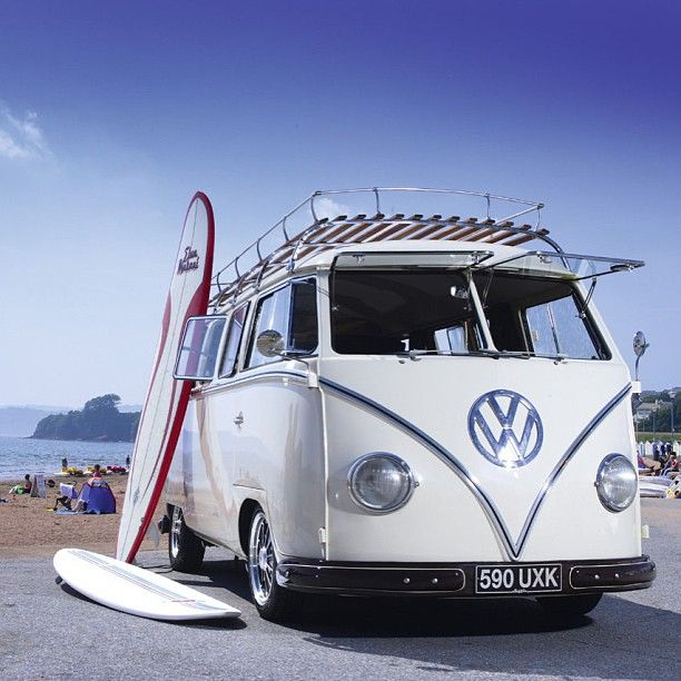 #White #VW #Bus #Surfboard