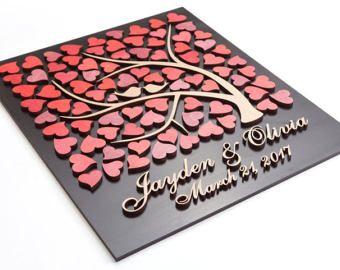 3D bruiloft gast boek alternatief bruiloft boom hout