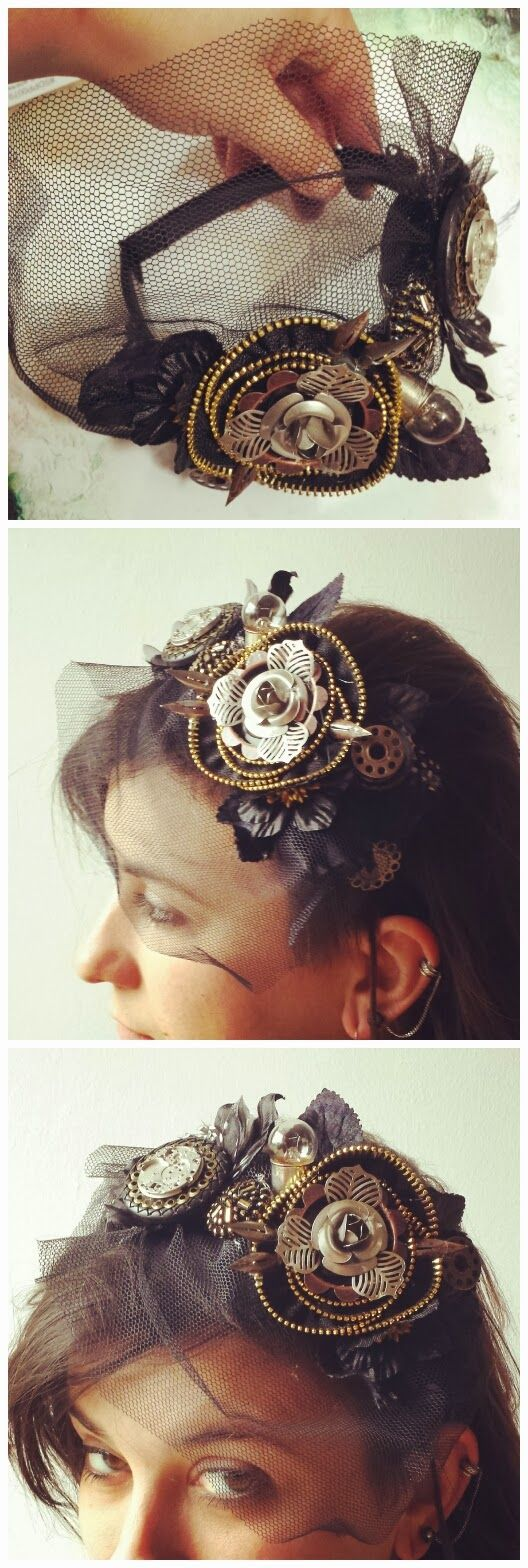 Finnabair: Shortie: Halloween Headband - Steampunk Style - tutorial :)