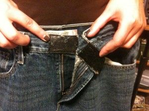 Add velcro to jeans in replace of the button | Allows child to fasten/unfasten pants by themselves | Children aren't subjected to wearing all pants with elastic waists.