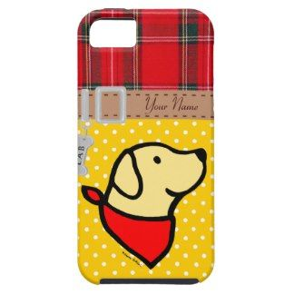 Personalized Yellow Lab Puppy Flowers Cartoon iPhone 5 Cover