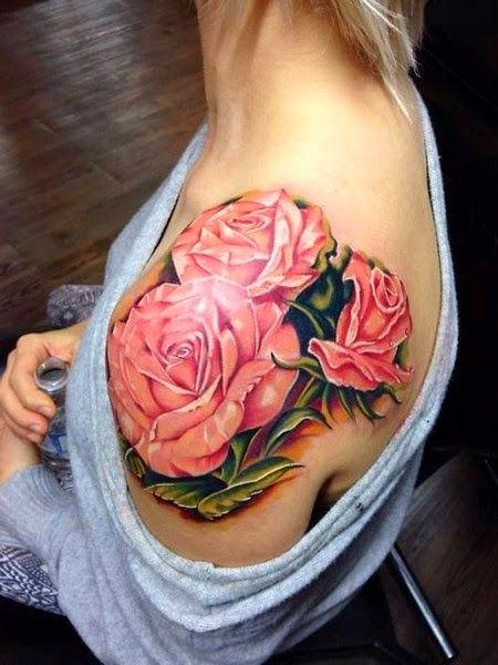 hibiscus shoulder tattoo   Flower Tattoo on Shoulder for Women