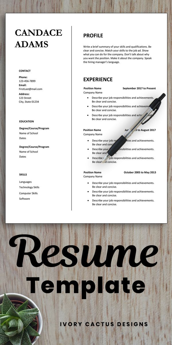 Simple Resume Template Word One Page Resume Two Page Digital