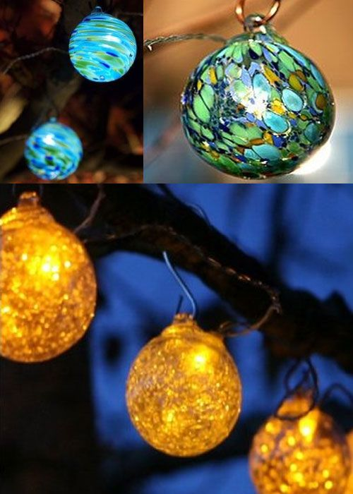 Hand crafted and truly beautiful, these Aurora Glow solar powered string lights will enhance your backyard or patio. Since they are solar powered and equipped with a photo light sensor, they'll turn themselves on at twilight, and off at dawn. Each Aurora Glow string light comes with six hand blown glass globes with LED lights, and copper hanging hooks. http://blog.thefind.com/2010/05/aurora-glow-glass-solar-powered-string-lights/