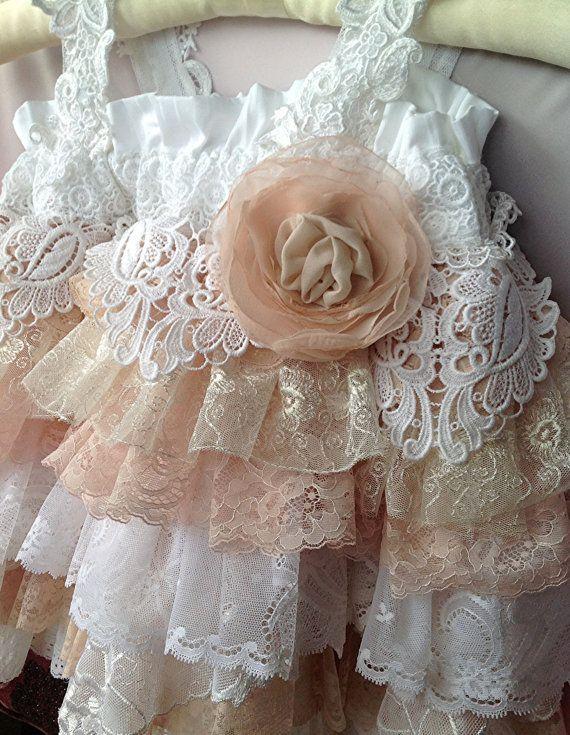 Vintage Lace Flower Girl Dress Wedding, Birthday party By Rosanna Hope For Babybonbons Blush Ivory Custom