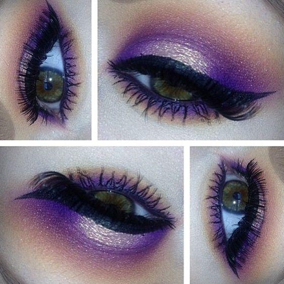 Gorgeous makeup for hazel eyes #PurpleEyeshadow