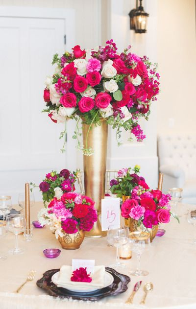 Hot pink and gold: http://www.stylemepretty.com/virginia-weddings/charlottesville/2015/03/16/elegant-pink-purple-wedding-inspiration-at-trump-winery/ | Photography: Allison Hopperstad - www.allisonhopperstad.com