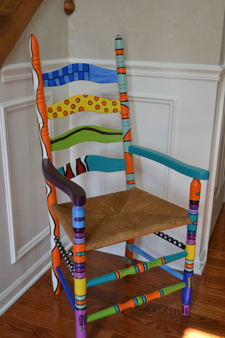old straw chair - repainted