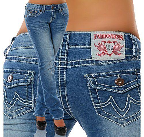 Damen Jeans Straight Leg (Gerades Bein Dicke Nähte Naht 17 Farben) No 12923, Größe:36;Farbe:Blau