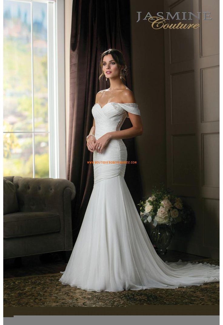 Robe de mariée sirène mousseline col en coeur avec bretelles perlées                                                                                                                                                                                 Plus