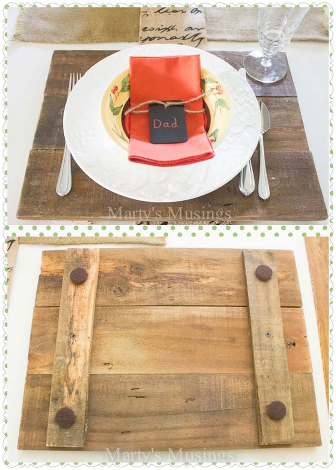 Making placemats/chargers from wood pallets