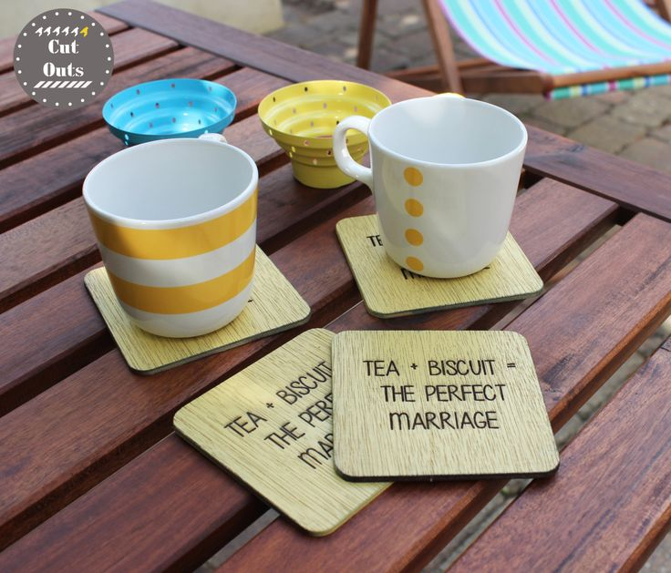 Tea + biscuit = perfect marriage. Quirky coasters. Set of 4. by CutOutsProductDesign on Etsy