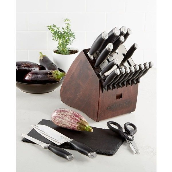 Calphalon Contemporary SharpIN Self Sharpening 20-Piece Cutlery Set (4 325 ZAR) ❤ liked on Polyvore featuring home, kitchen & dining, cutlery, none, calphalon knives, slicing knives, paring knives, calphalon cutlery and full tang knives