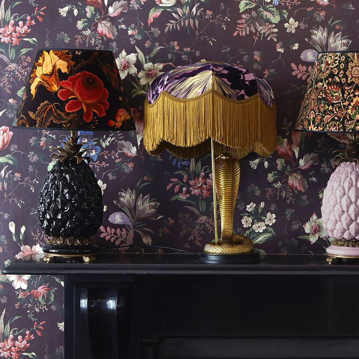 Set the mood with House of Hackney's unique lampstands and printed shades, sure to bring opulence to your space.