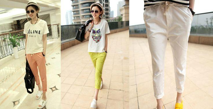 Весна 2014 Корейская версия сыпучих хлопка колготки упругих талии брюки женские ноги был тонкий женский шаровары случайные штаны - Taobao