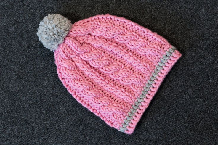 Toddler Knit and Crochet Hat,READY TO SHIP,Pompon Hat,Toddler Beanie,Girl,Pink and Gray,Winter Beanie,Ultra Soft Chunky Yarn,Size: 2-4 years by namabi on Etsy
