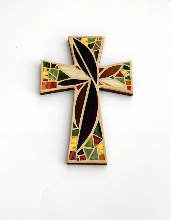 "Mosaic Wall Cross, Large, Abstract Floral, ""Sunset"", Browns+Olive+Gold Mirror Handmade Stained Glass Mosaic Cross Wall Decor, 15"" x 10"" by Dana Hess - The Green Banana Mosaic Company"