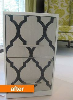 8 Great Stenciled, Papered, and Painted File Cabinet Makeovers. Metal Desk Makeover ideas