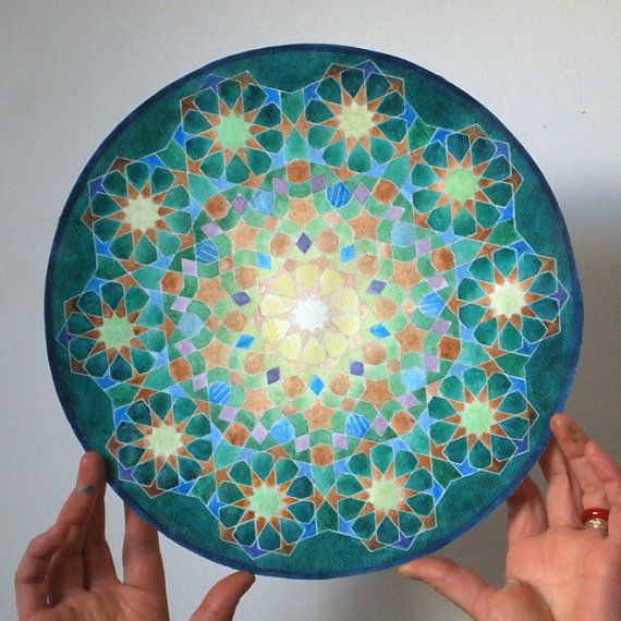 Custom geometric watercolor painting- sacred art mandala based on the golden ratio Islamic art - from Etsy_Nomadic Soul Creation