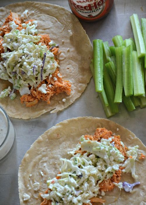 Buffalo Chicken Tacos with Blue Cheese Coleslaw | www.mountainmamacooks.com #tacotuesday #slowcooker