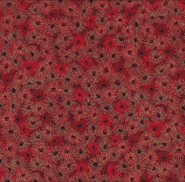 Australian Sun Eucalyptus Gumnut Flowers Red Quilting Fabric - Find a Fabric.  Available to purchase in Fat Quarters, Half Metre, 3/4 Metre, 1 Metre and so on.