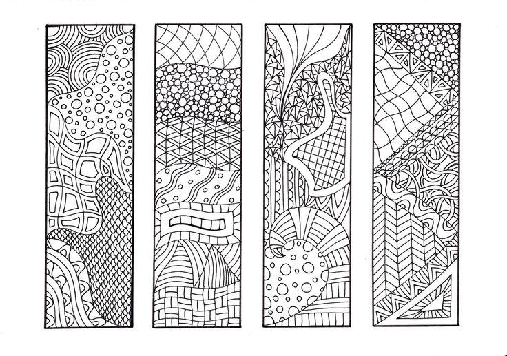 Zendoodle Bookmarks DIY, Zentangle Inspired Printable Coloring, Digital Download, Sheet 1. $4.00, via Etsy.