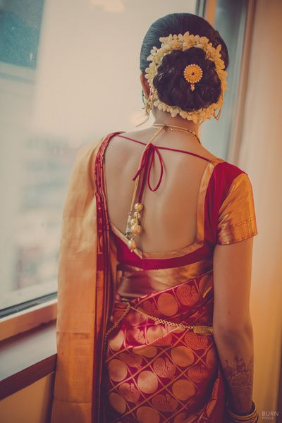 red and gold banarsi silk saree , gajra hairstyle , juda pin