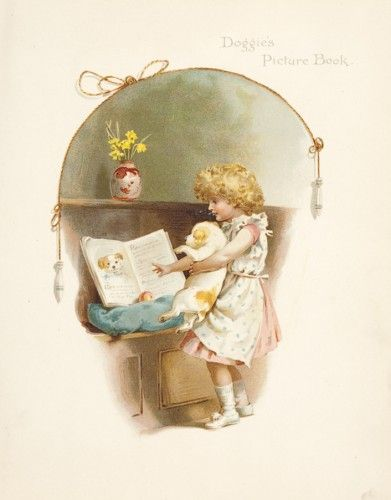 BENNETT, Harriet, et al. Doggie's Picture Book. Original bookplate chromolithograph illustration from Merry Hearts by Frances E. Crompton et al., published by Ernest Nister London, c.1896.