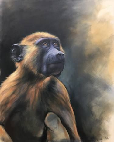 "Saatchi Art Artist Aimee Hoover; Painting, ""Young Baboon"" // #art #yearofthemonkey #painter #painting #artist #animal #monkey #saatchiart"