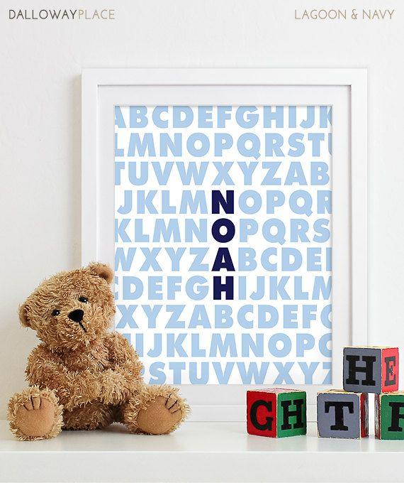Baby Boy Nursery Decor Boys Nursery Art, Baby Boy Gifts, Birth Print Baby Name Art, Baby Announcement, Nursery Alphabet Art